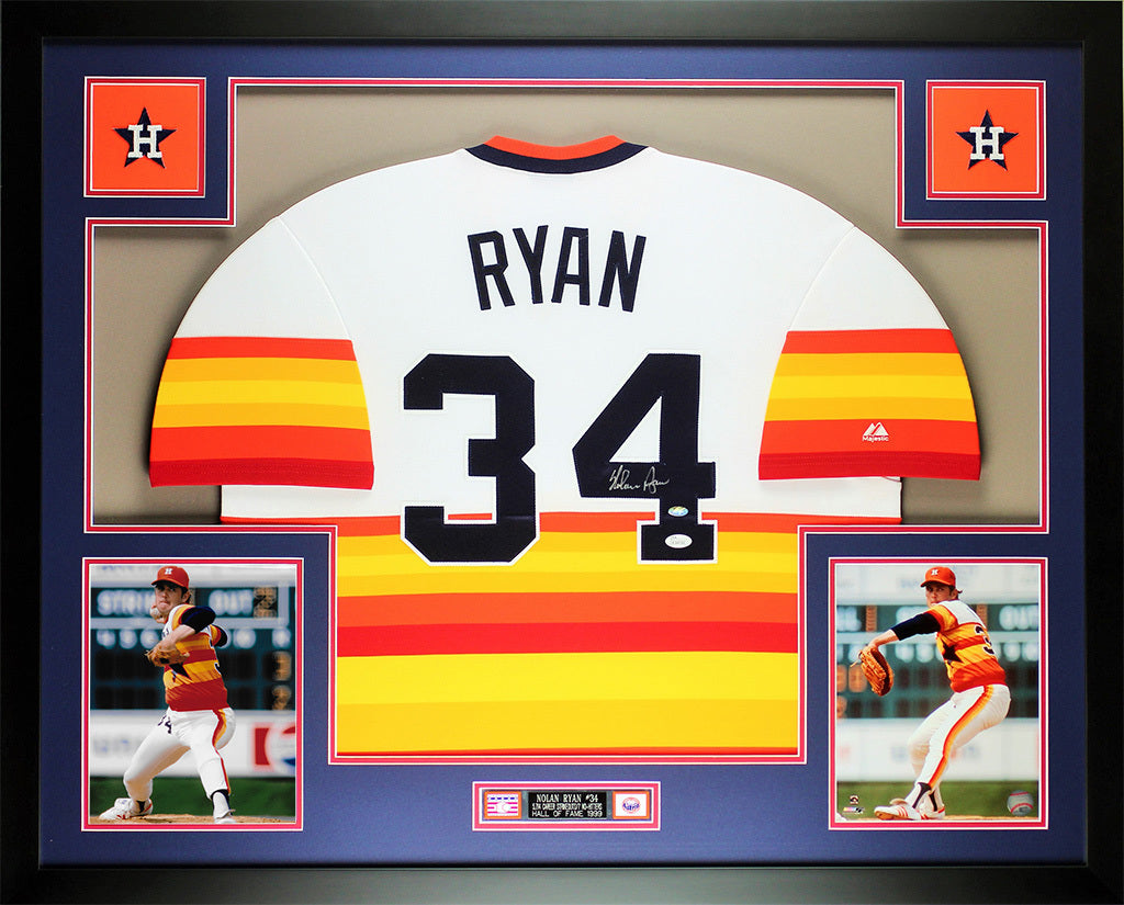 premium selection 113e0 1ca6c Nolan Ryan Autographed and Framed Rainbow Astros Jersey Auto JSA COA