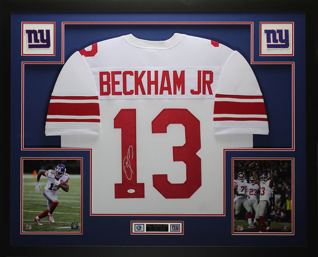 separation shoes d9f41 6b260 Odell Beckham Jr Autographed and Framed White Giants Jersey Auto JSA COA  D3-L