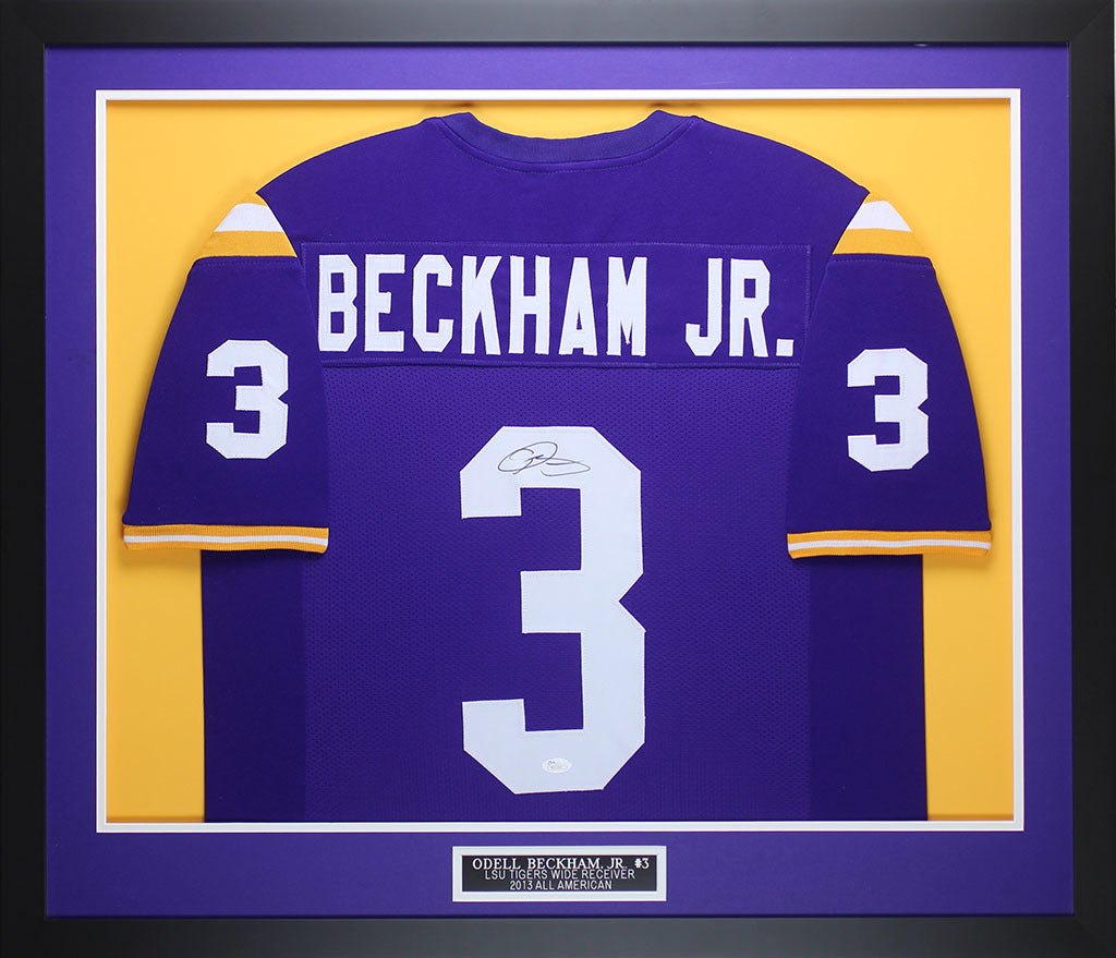 san francisco 349ef 8f76a Odell Beckham Jr Autographed and Framed Purple LSU Jersey Auto JSA COA D1-M