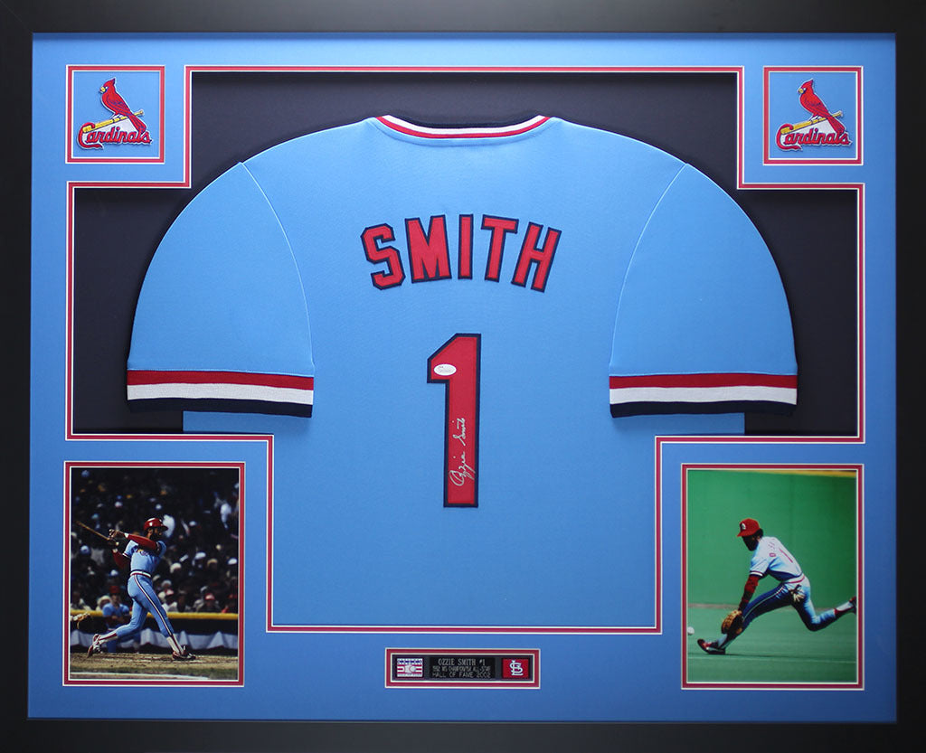 pretty nice 78cf8 52feb Ozzie Smith Autographed and Framed Blue Cardinals Jersey Auto JSA COA D3-L