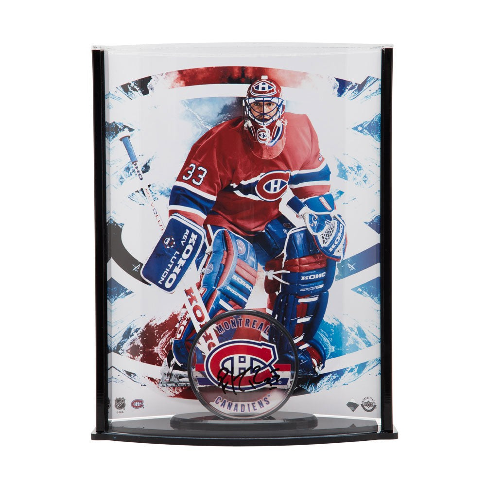detailing fed8c 9bd3d Patrick Roy Autographed Acrylic Montreal Canadiens Puck & Curve Display