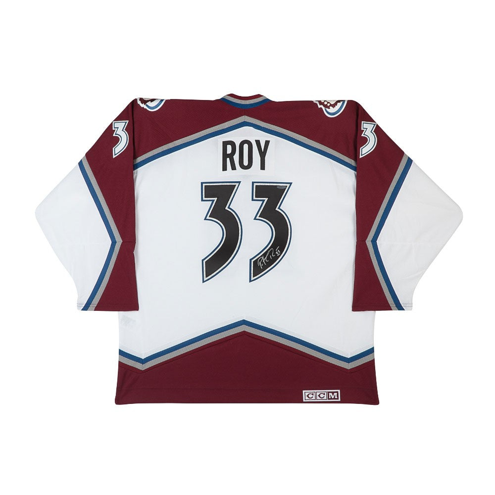 838f69d0f82 ... norway patrick roy autographed authentic ccm heroes of hockey white colorado  avalanche jersey 67a88 cede4