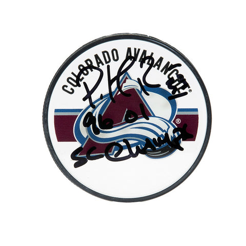 Patrick Roy Autographed & Inscribed Colorado Avalanche Acrylic Puck