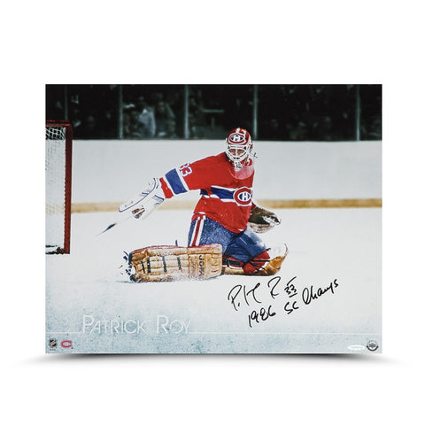"Patrick Roy Autographed & Inscribed ""The Save"" 20 x 16"