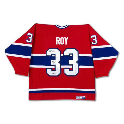 Patrick Roy Autographed & Inscribed Authentic Heroes of Hockey Red Montreal Canadiens Jersey