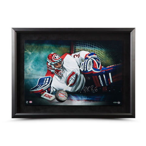 "Patrick Roy Autographed ""Save"" Breaking Through 24 x 16"