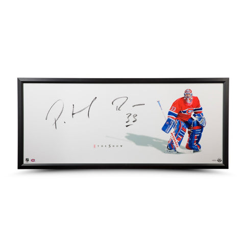 "Patrick Roy Autographed The Show ""Stand-up"" 46 x 20 Framed"