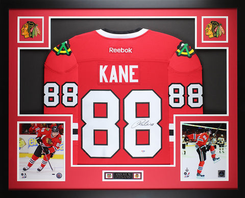Patrick Kane Framed and Autographed Red Blackhawks Jersey Auto PSA COA (D4-L)