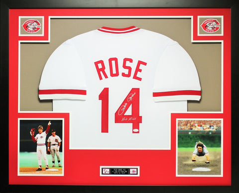 Pete Rose Autographed Hit King and Framed White Reds Jersey JSA Certified (D2-L)