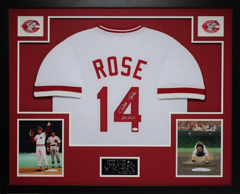 Pete Rose Autographed Hit King and Framed White Reds Jersey JSA Certified (D3-L)