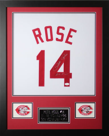 Pete Rose Autographed and Framed White Reds Jersey Auto JSA Certified