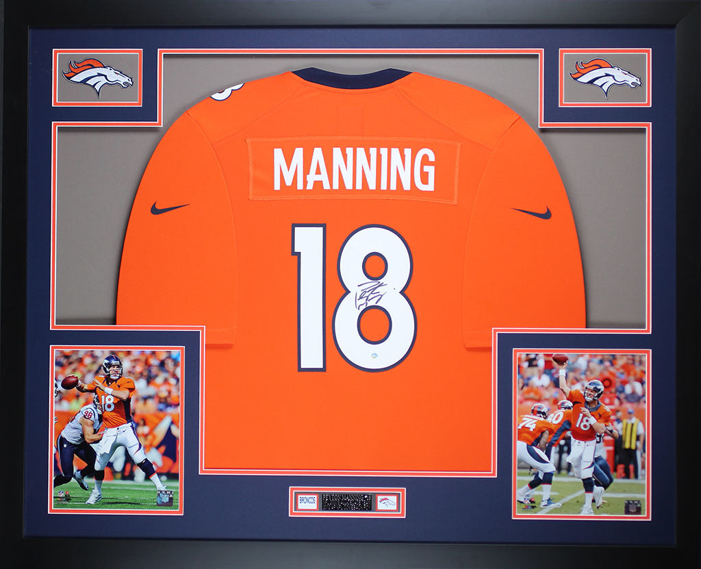 the latest 01bd7 d8e82 Peyton Manning Autographed & Framed Orange Broncos Jersey Auto Steiner COA  D13