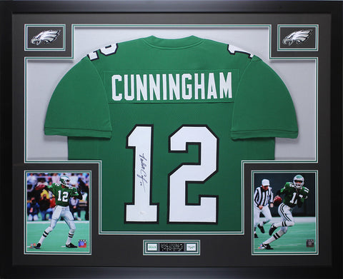 Randall Cunningham Autographed and Framed Eagles Jersey Auto JSA COA D1-L