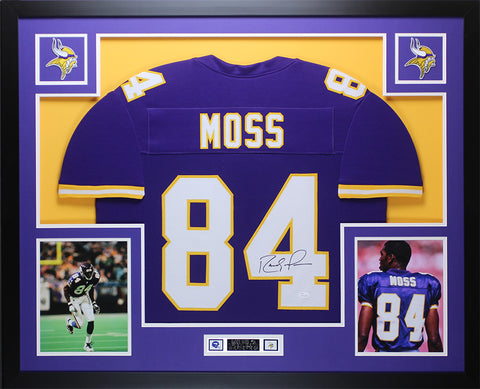 Randy Moss Autographed and Framed Purple Vikings Jersey Auto JSA COA D2-L