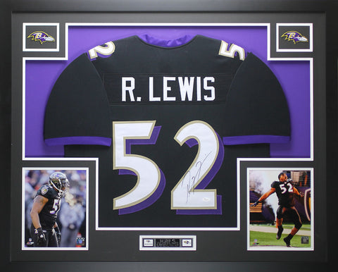 Ray Lewis Autographed and Framed Black Ravens Jersey Auto JSA COA D9-L