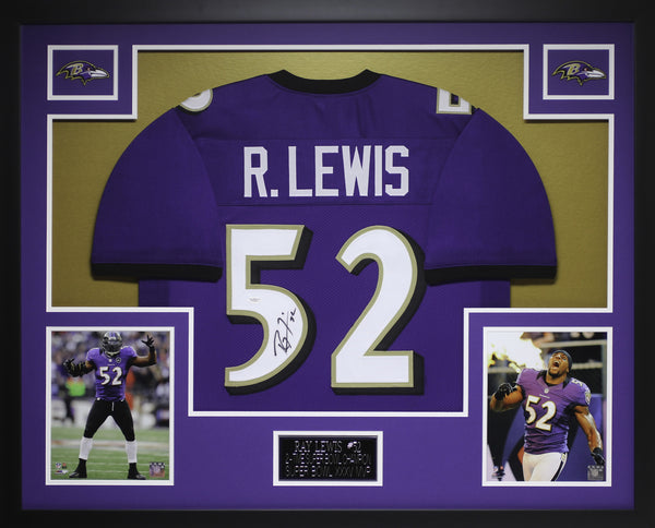 Ray Lewis Autographed and Framed Purple Ravens Jersey JSA COA