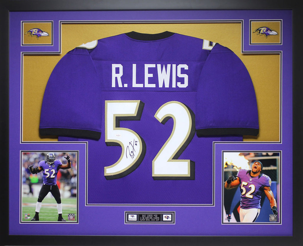 aaf86770d Ray Lewis Autographed and Framed Purple Ravens Jersey Auto JSA COA – Super  Sports Center