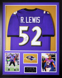 Ray Lewis Autographed and Framed Purple Ravens Jersey Auto JSA COA (Vert)