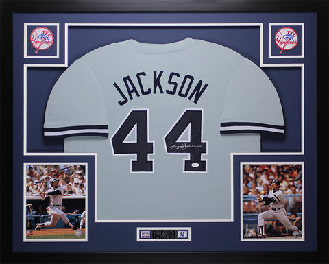 Reggie Jackson Autographed and Framed Yankees Gray Jersey JSA COA D3-L