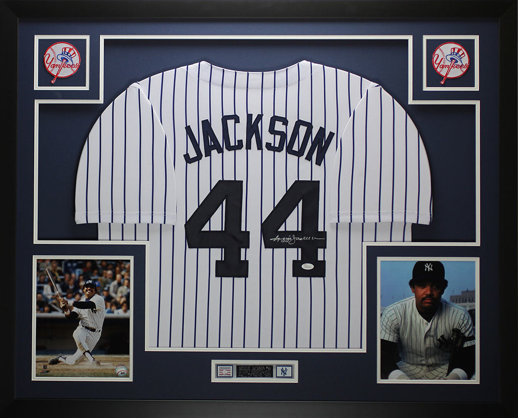 best loved 994bd 22f7c Reggie Jackson Autographed and Framed Yankees Pinstriped Jersey JSA COA D1
