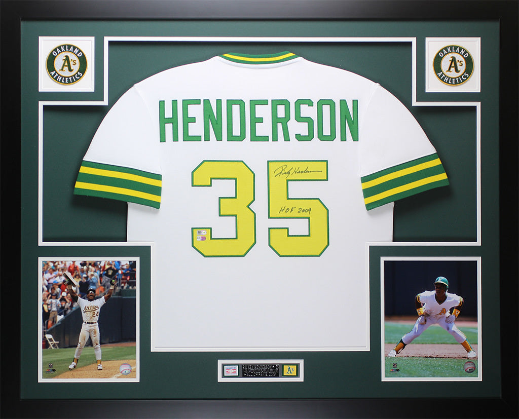 super popular 4e672 9fcbf Rickey Henderson Autographed and Framed White HOF 2009 Oakland A's Fanatics  D2
