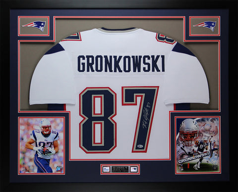 Rob Gronkowski Autographed & Framed White Patriots Jersey Auto Beckett COA D13