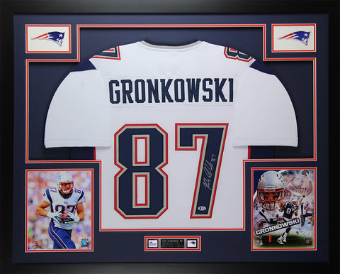 Rob Gronkowski Autographed & Framed White Patriots Jersey Auto Beckett COA D11