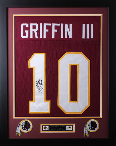 Robert Griffin III Framed and Autographed Maroon Redskins Jersey JSA Certified