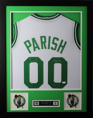 Robert Parish Framed and Autographed Green Celtics Jersey Auto JSA COA D1-S