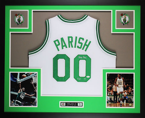 Robert Parish Autographed HOF 03 and Framed White Celtics Jersey Auto JSA COA (D1-L)