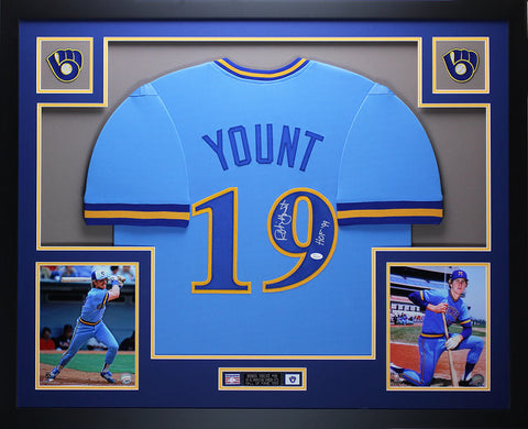 Robin Yount Autographed HOF 99 and Framed Blue Brewers Jersey Auto JSA COA D2-L