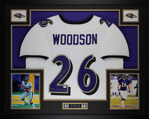 Rod Woodson Autographed SB Champs and Framed White Ravens Jersey JSA Certified