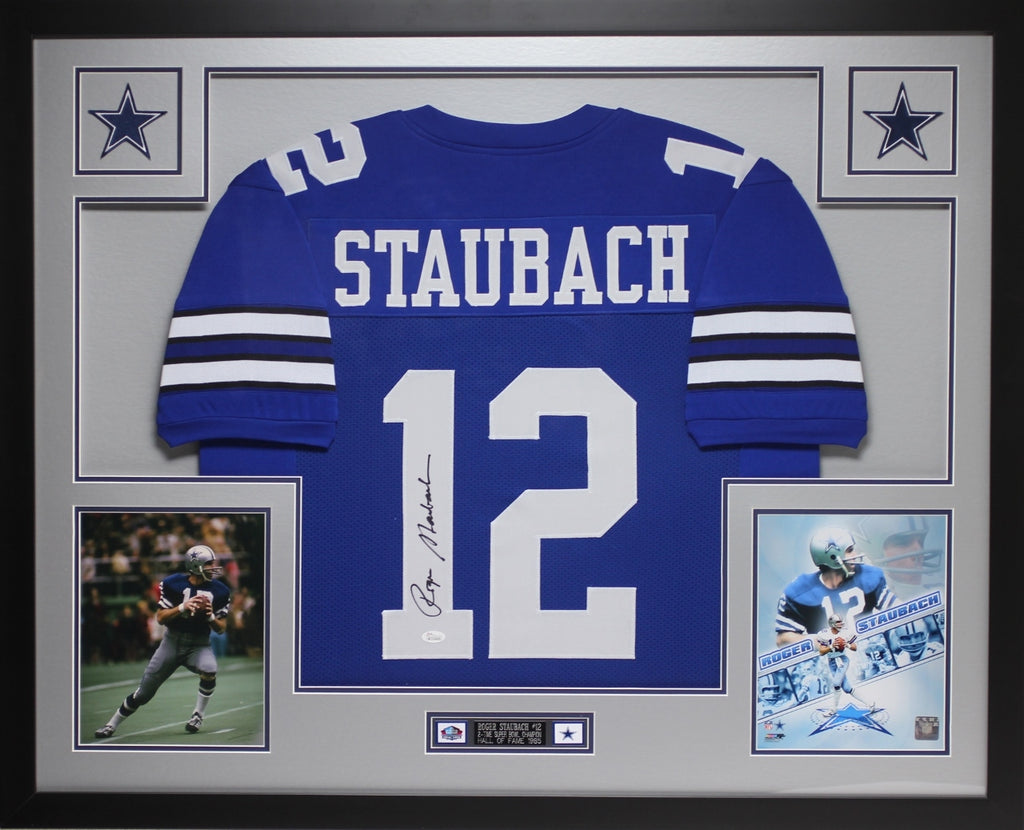 separation shoes 9223e b97e0 Roger Staubach Autographed and Framed Blue Cowboys Jersey Auto JSA Certified