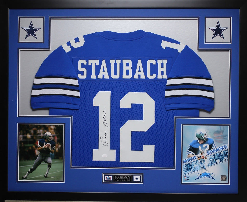 best service d7018 e2f56 Roger Staubach Autographed and Framed Blue Jersey Auto JSA Certified
