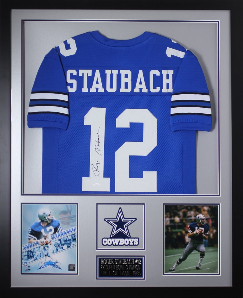 competitive price 07dfd 0c982 Roger Staubach Autographed and Framed Blue Cowboys Jersey JSA Certified  (Vert)