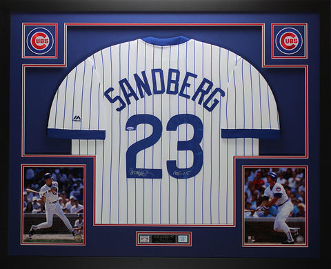 Ryne Sandberg Autographed and Framed Pinstriped Cubs Jersey Auto Tristar COA D2