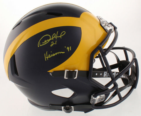 "Desmond Howard Signed Michigan Wolverines Full Size NCAA Speed Helmet with ""Heisman 91"" Inscription"