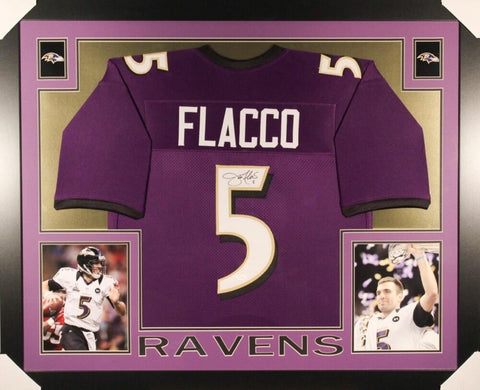 Joe Flacco Signed Baltimore Ravens 35x43 Custom Framed Jersey (JSA COA)