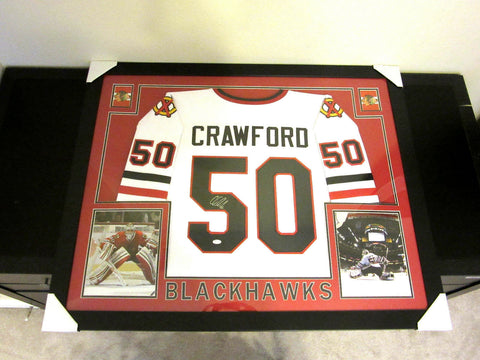 Corey Crawford Signed Blackhawks 35x43 Custom Framed Jersey (JSA COA) 2X Champ