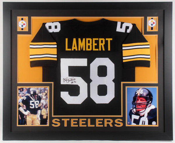 Jack Lambert Signed Pittsburgh Steelers 35x43 Framed Jersey Inscribed HOF 90 JSA