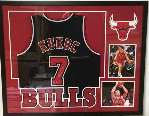 Toni Kukoc Signed Chicago Bulls 34x42 Custom Framed Jersey (Leaf COA)