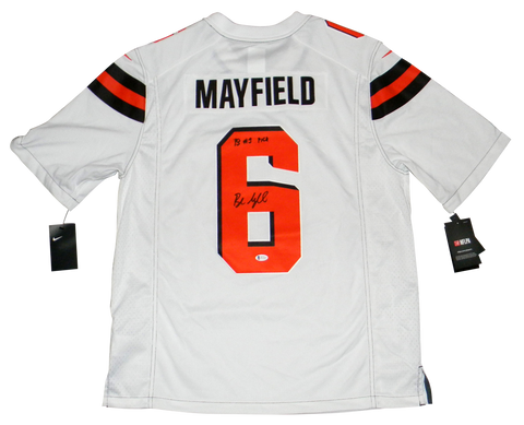 BAKER MAYFIELD SIGNED CLEVELAND BROWNS #6 WHITE NIKE LIMITED JERSEY W/ #1 PICK