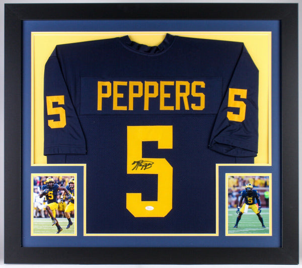 Jabrill Peppers Signed Michigan Wolverines 31x35 Custom Framed Jersey (JSA COA)