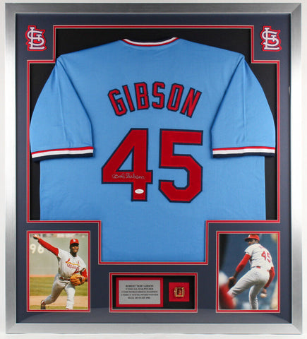 "Bob Gibson Signed Cardinals 34"" x 38"" Custom Framed Jersey Display (JSA COA)"