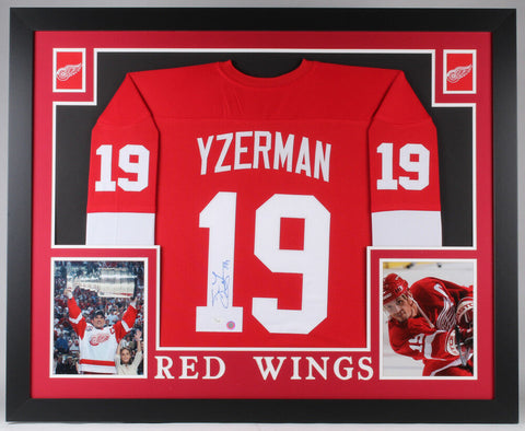 Steve Yzerman Signed Red Wings 35x43 Custom Framed Jersey JSA COA & Yzerman Holo