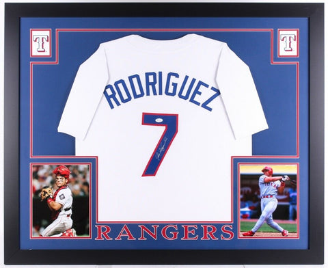 "Ivan Rodriguez Signed Rangers 35"" x 43"" Custom Framed Jersey (JSA) 14x All Star"