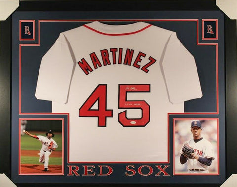 "Pedro Martinez Signed Red Sox 35x43 Custom Framed Jersey Inscribed ""04 WS Champs"