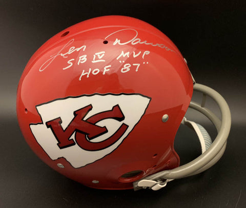 Len Dawson Signed Kansas City Chiefs TK Helmet with 4 Inscriptions PSA