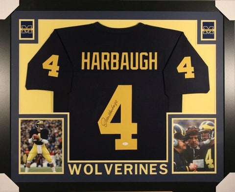 Jim Harbaugh Signed Blue Michigan Wolverines 35x43 Custom Framed Jersey (JSA)
