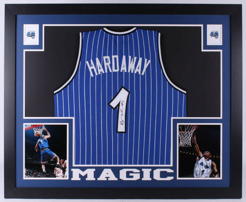 Penny Hardaway Signed Magic 35 x 43 Custom Framed Jersey (JSA) Orlando 1993-1999